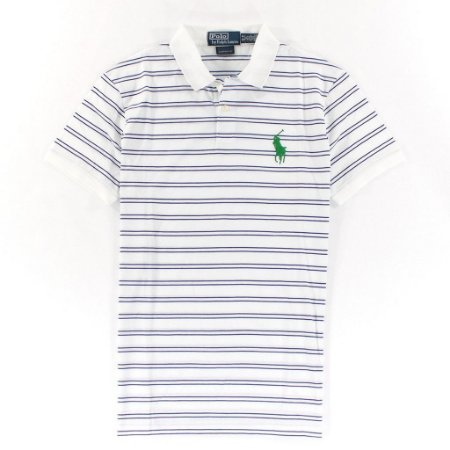 Polo Ralph Lauren Masculina Medium Pony Striped Polo - White