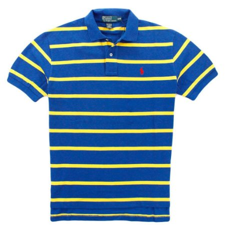 Polo Ralph Lauren Masculina Striped Classic Mesh Piquet Polo - Blue and Yellow