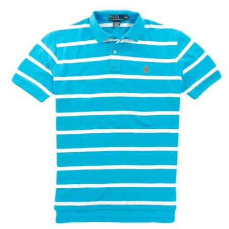 Polo Ralph Lauren Masculina Striped Classic Mesh Piquet Polo - Cove Blue