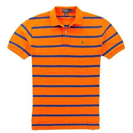 Polo Ralph Lauren Masculina Striped Classic Mesh Piquet Polo - Orange