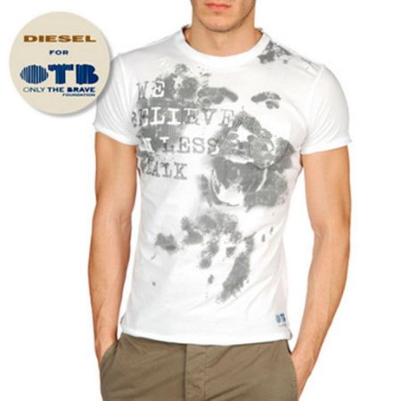 Camiseta Diesel Masculina Only The Brave Tee - White