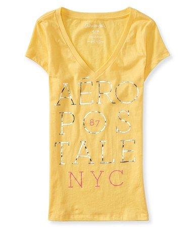Camiseta Aéropostale Feminina Stacked V-Neck - Sunshine