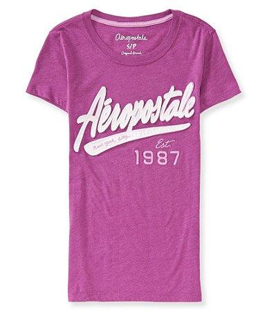 Camiseta Aéropostale Feminina NYC 1987 - Grape Thrill