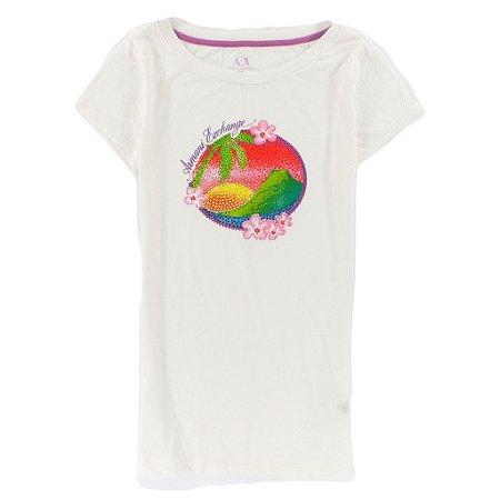 Camiseta Armani Exchange Feminina Beach Gems - White