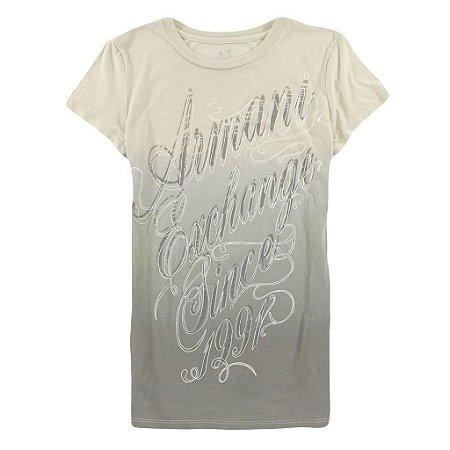 Camiseta Armani Exchange Feminina Shiny Degradé 1991 - Beige