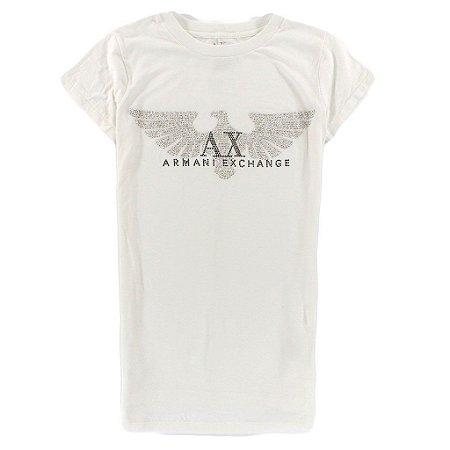 Camiseta Armani Exchange Feminina Shiny Eagle - White