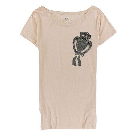 Camiseta Armani Exchange Feminina The Crown - Salmon