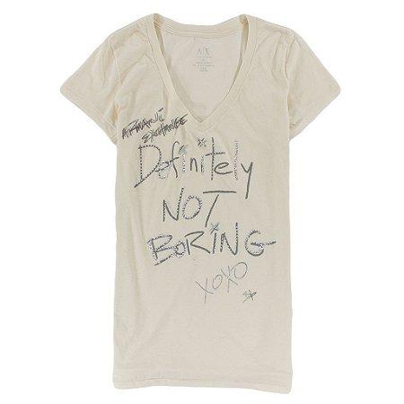 Camiseta Armani Exchange Feminina Def Not Boring - Beige