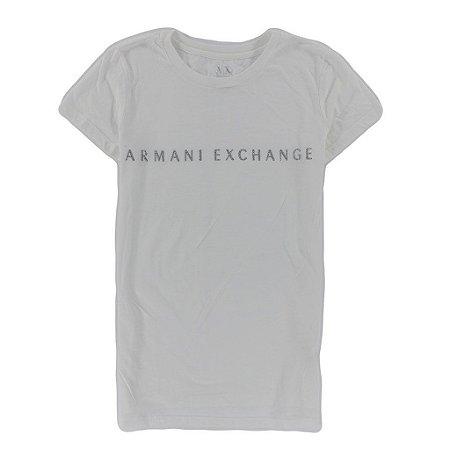 Camiseta Armani Exchange Feminina Classic Shiny - White