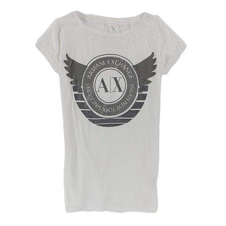 Camiseta Armani Exchange Feminina Glitter Wings - White