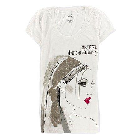 Camiseta Armani Exchange Feminina Red Lipstick - White