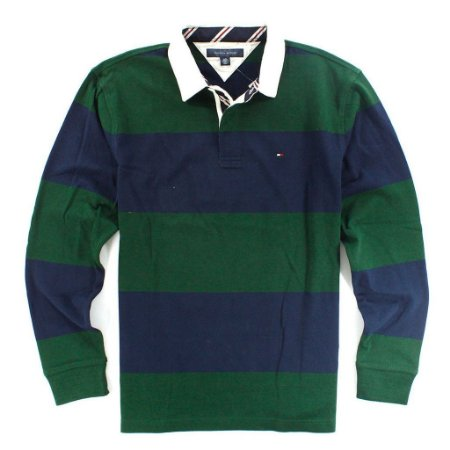 Polo Tommy Hilfiger Masculina Long Sleeve Rugby - Navy and Green