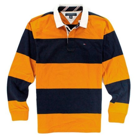 Polo Tommy Hilfiger Masculina Long Sleeve Rugby - Navy and Mustard