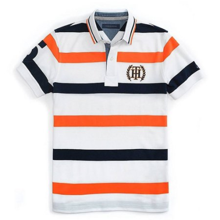 Polo Tommy Hilfiger Masculina Nautica Stripe Piquet - Orange and Navy