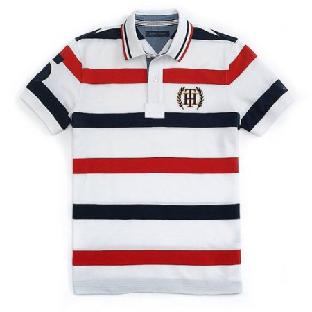 Polo Tommy Hilfiger Masculina Nautica Stripe Piquet - Red and Navy