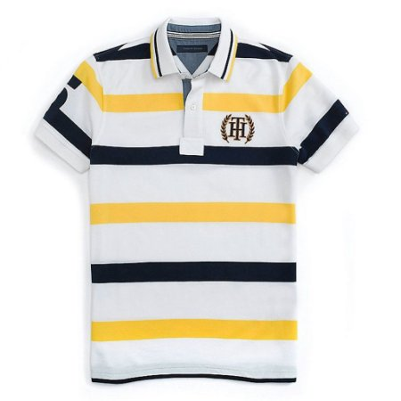 Polo Tommy Hilfiger Masculina Nautica Stripe Piquet - Yellow and Navy