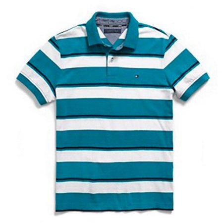 Polo Tommy Hilfiger Masculina Stripe - White and Acqua