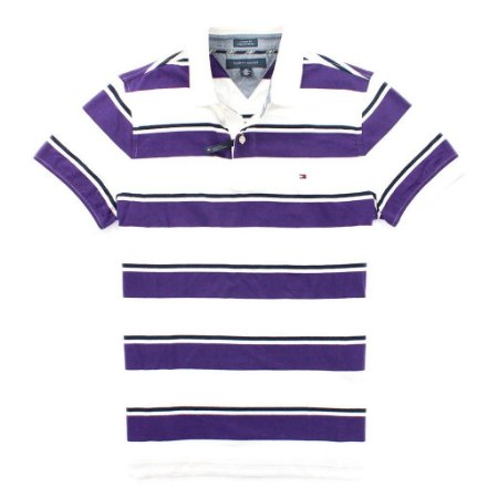 Polo Tommy Hilfiger Masculina Stripe - White and Purple