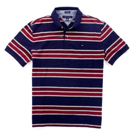 Polo Tommy Hilfiger Masculina Striped Piquet - Navy
