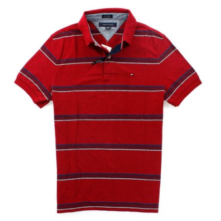Polo Tommy Hilfiger Masculina Striped Piquet - Wine