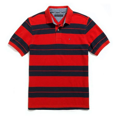 Polo Tommy Hilfiger Masculina Triple Striped Piquet - Red