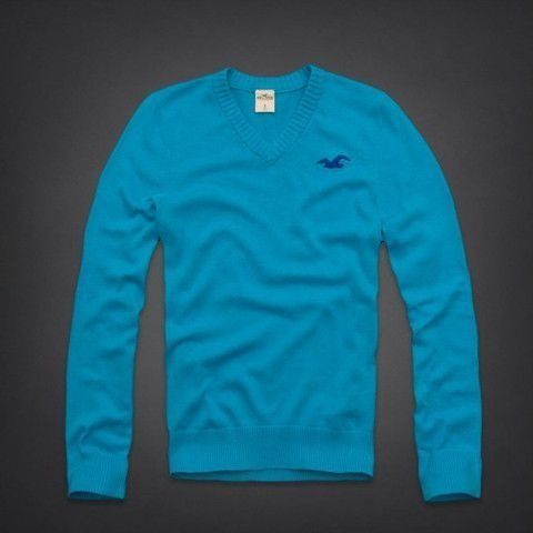 Sweater Hollister Masculino Pacific Coast V-Neck Sweater - Turquoise