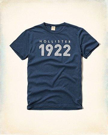 Camiseta Hollister Masculina 1922 Logo - Heather Blue