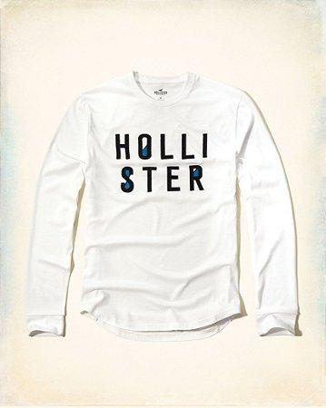 Manga Longa Hollister Filled Logo - White