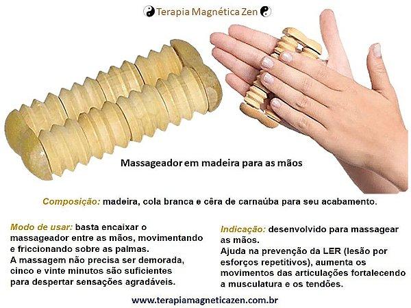 Massageador de Madeira para as Mãos By Terapia Magnética Zen