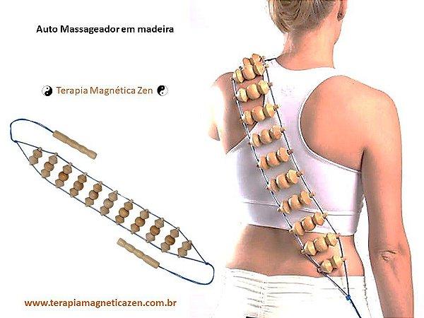 Auto Massageador de Madeira Pinus com Fileiras Duplas terapia magnética zen