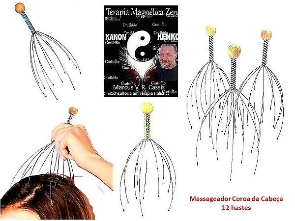 Massageador Coroa da Cabeça com 12 hastes flexíveis By Kanon Kenko Terapia Magnética Zen
