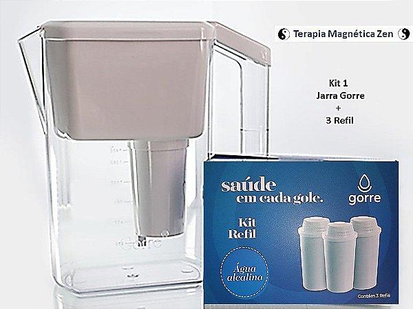 Kit 1 - Jarra Gorre Purificadora De Água Magnética E Photon com kit refil