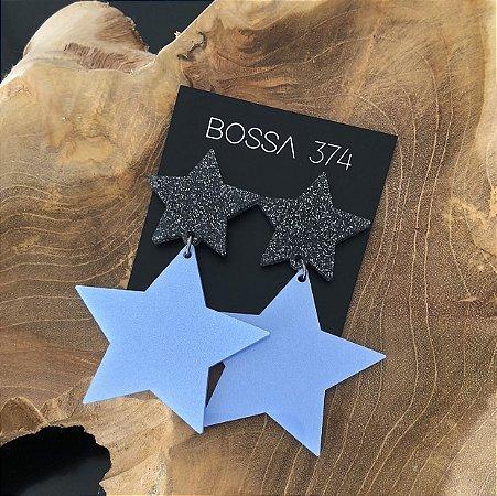 Brinco Estrela Azul Acetinado com Glitter