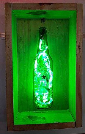Luminária Heineken com Moldura Led Verde