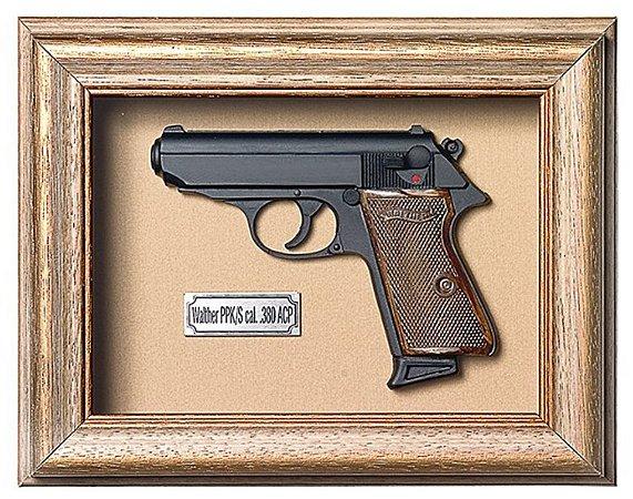 Quadro de Arma Resina Walther PPK/S cal. .380 ACP - Clássico