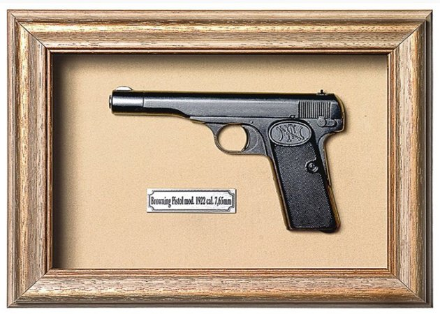 Quadro de Arma Resina Browning Pistol mod. 1922 cal. 7,65mm - Clássico