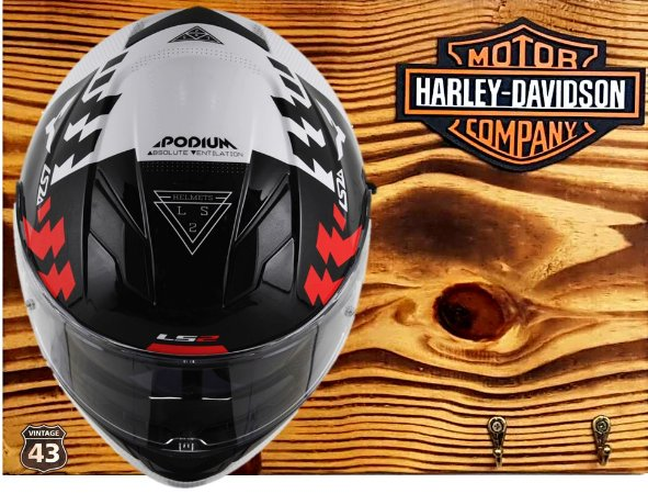 Porta Capacete Harley Davidson - 2 Ganchos (Visor para baixo)