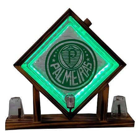 Pingometro de Bloco de vidro-  Palmeiras - COM LUZ DE LED