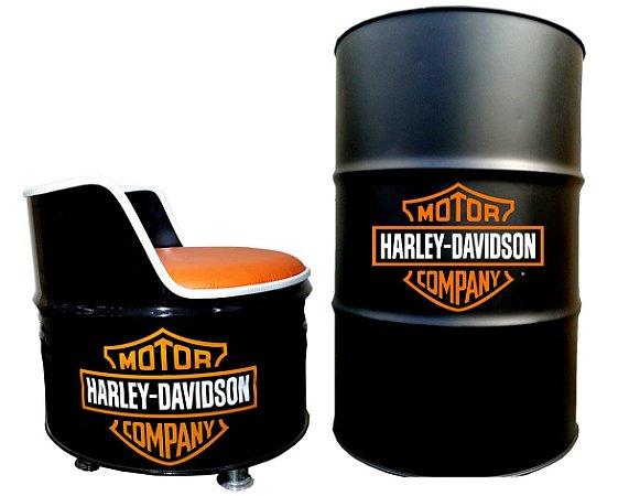 Kit Tema Harley Davidson - Tambor decorativo Aparador + 1 Poltrona de tambor