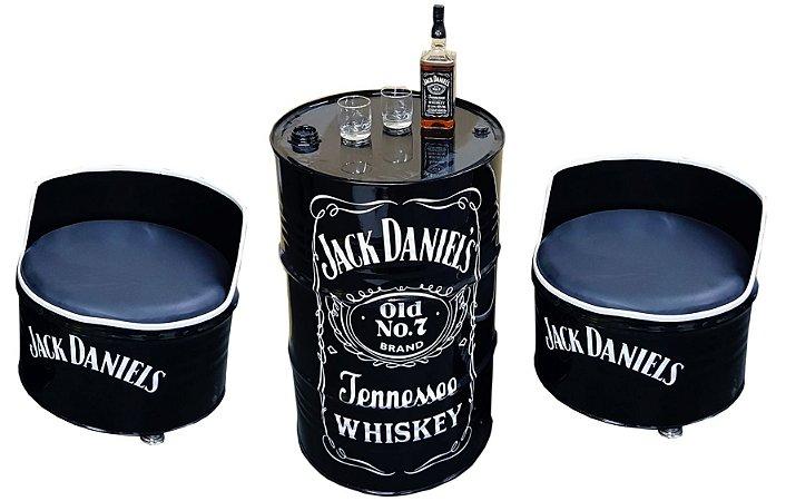 Kit Tema Jack Daniel's - Tambor Decorativo Aparador + 2 Poltronas de tambor