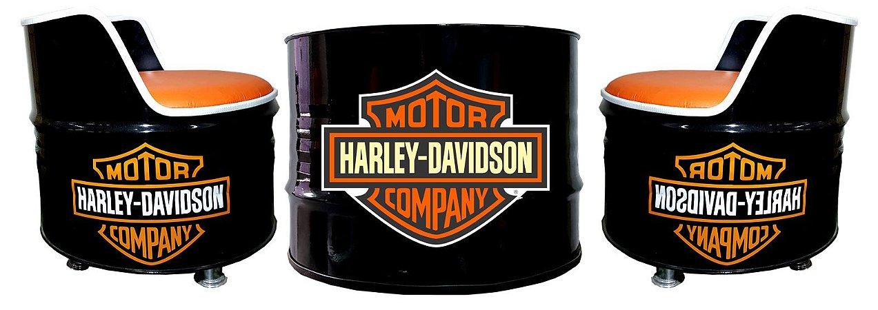 Kit Tema Harley Davidson - Mesa de Centro + 2 Poltronas de tambor