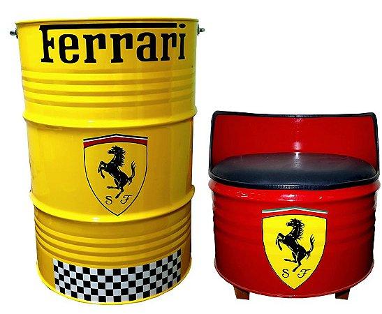Kit Tema Ferrari - Tambor Decorativo Aparador +  Poltrona de tambor