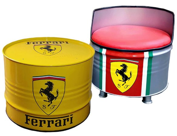 Kit Tema Ferrari - Mesa de Centro +  Poltrona de tambor