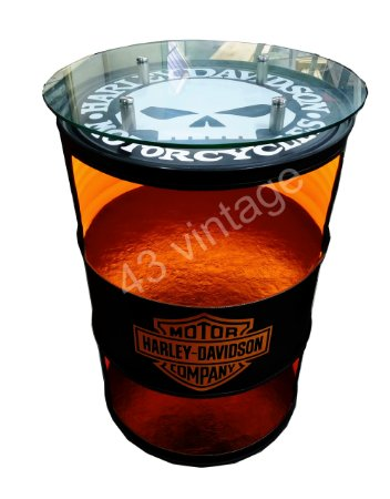 Tambor Barzinho - 2 Prateleiras Harley Davidson com luz de led  tampo de vidro