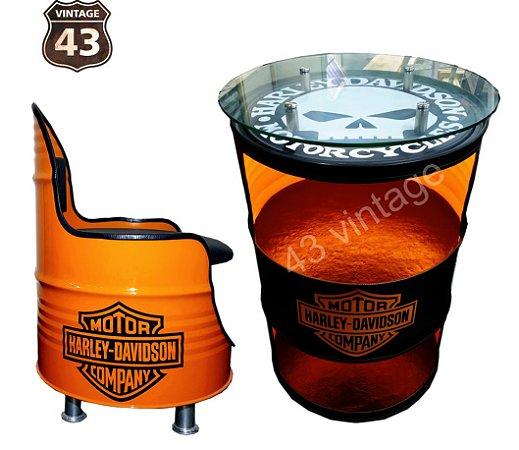 Kit Harley Davidson - Barzinho com led e tampo de vidro + Poltrona