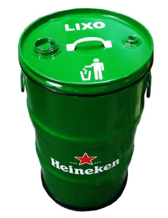 Lixeira de Tambor 80 Litros - Tema Harley Heineken
