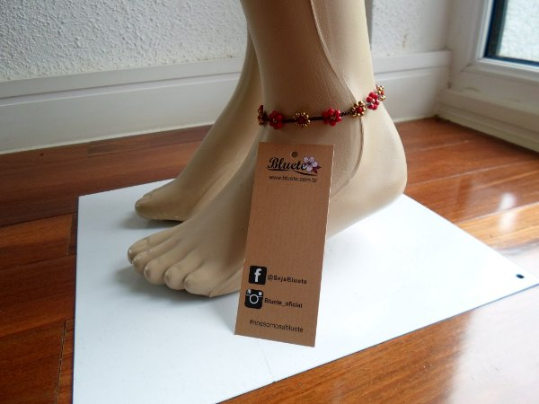 Tornozeleira Flower vermelha