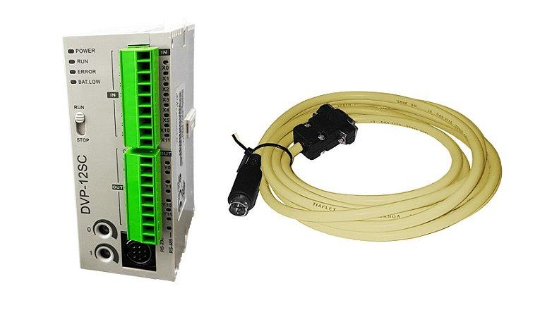Kit Clp Cpu Delta Dvp12sc11t 8e/4s Digitais + Cabo de programação Rs232 - DVPACAB230