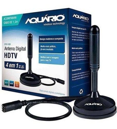 Antena Digital Dtv100 4 Em 1 Fm Hdtv Vhf Uhf Dtv-100 Aquario