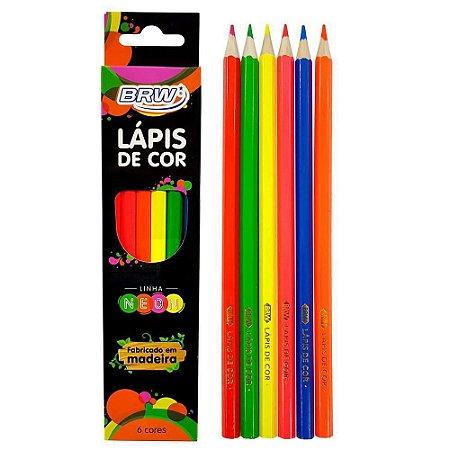 Lapis 6 Cor Neon Madeira 6 Cores Neons Premium Uso Artístico
